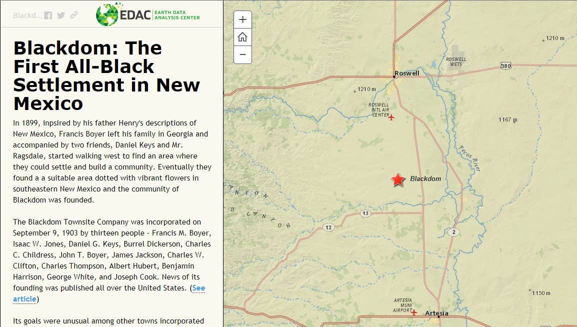 Mew Mexico Map.Blackdom The First All Black Settlement In New Mexico A Story Map
