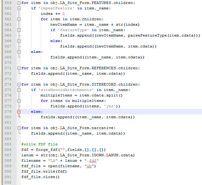 Python code using untangle and fdfgen to convert XML to FDF.