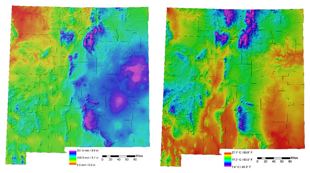 New Mexico precipitation and temperature data from PRISM